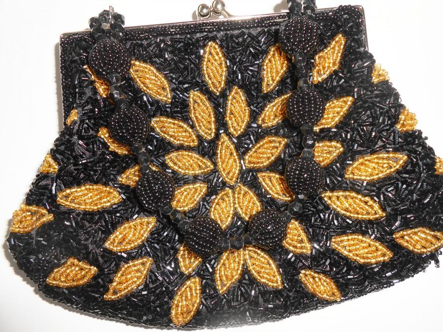 Wedding - Vintage Black Gold Handbag, Beaded Evening Bag,  EB-0319