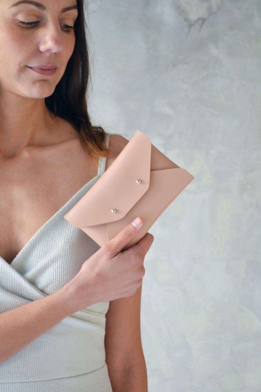 Wedding - Nude leather mini clutch / Nude leather wallet / Beige envelope pouch / Bridesmaid gift / Mini leather clutch / Makeup bag