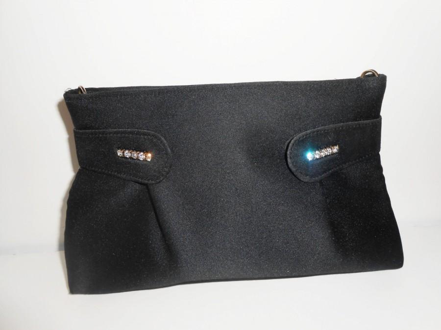 Mariage - Vintage Black Evening Bag, Black Clutch Bag, Rhinestone Trim EB-0536