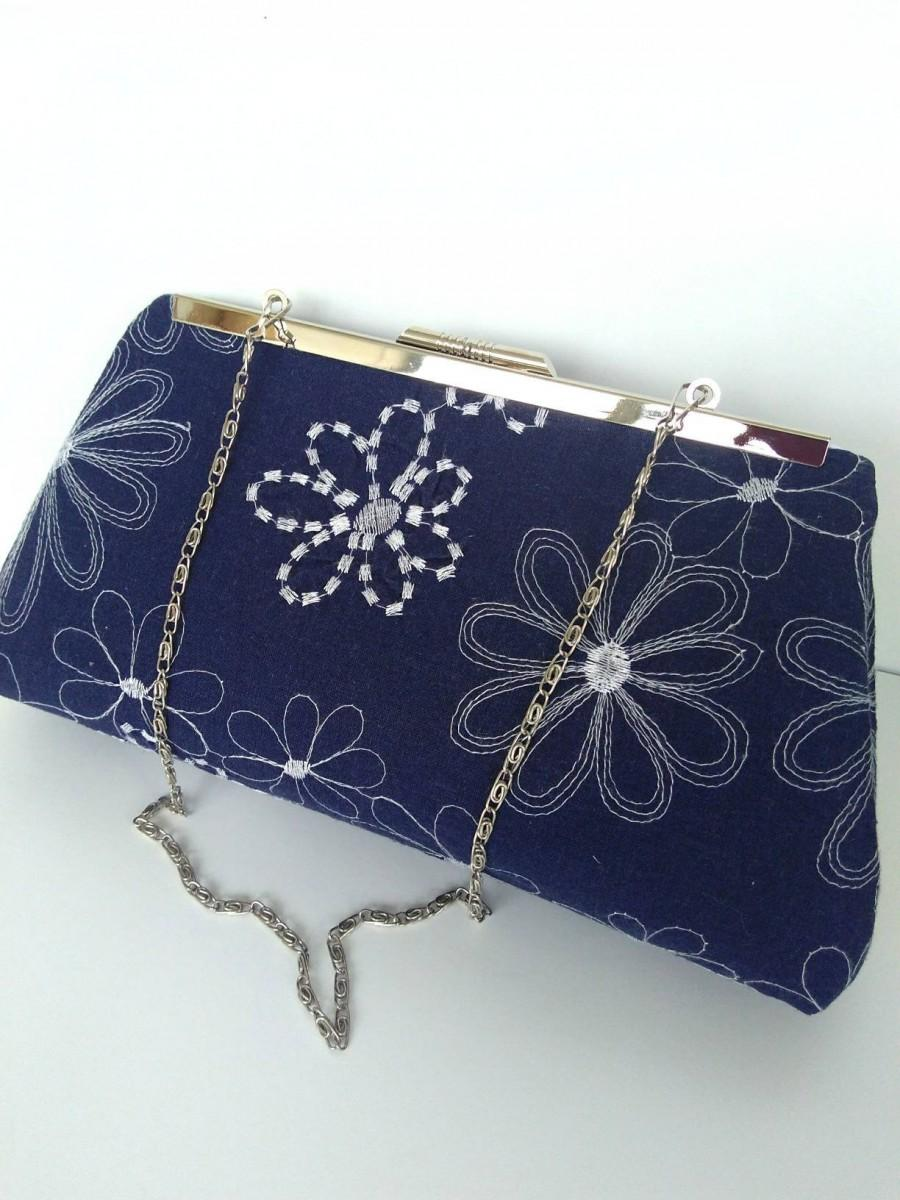 Mariage - Navy linen purse, navy clutch purse, navy blue purse, navy floral purse, navy Beach Wedding purse, navy nautical  purse