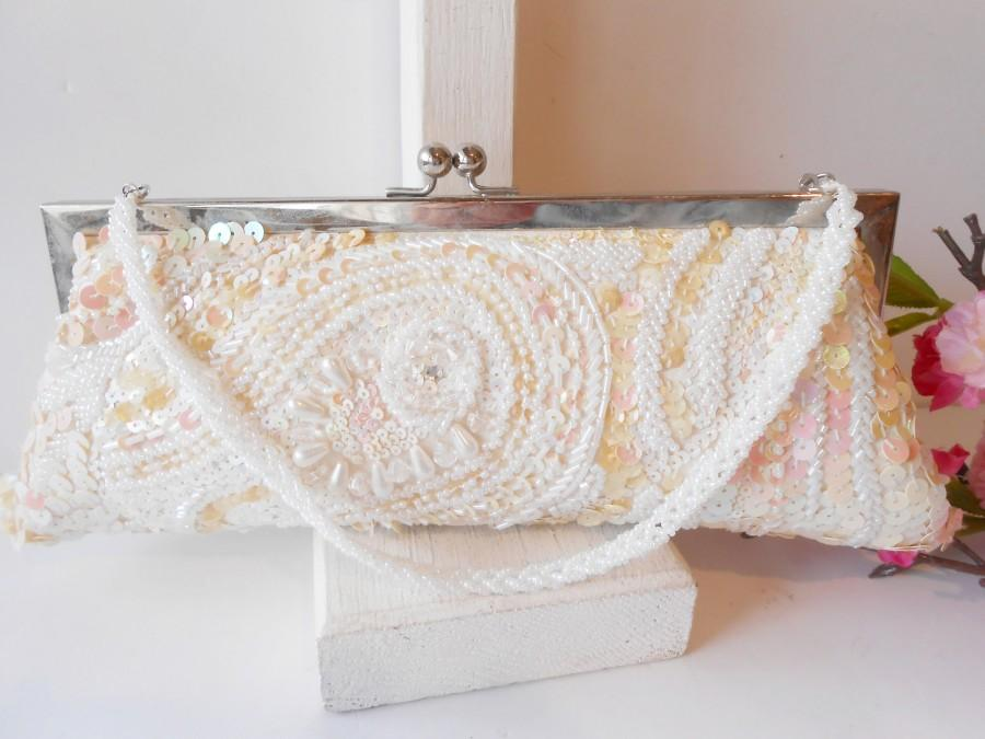 Wedding - Vintage White Beaded Evening Bag,Wedding Purse,  Beads and Sequins, EB-0370