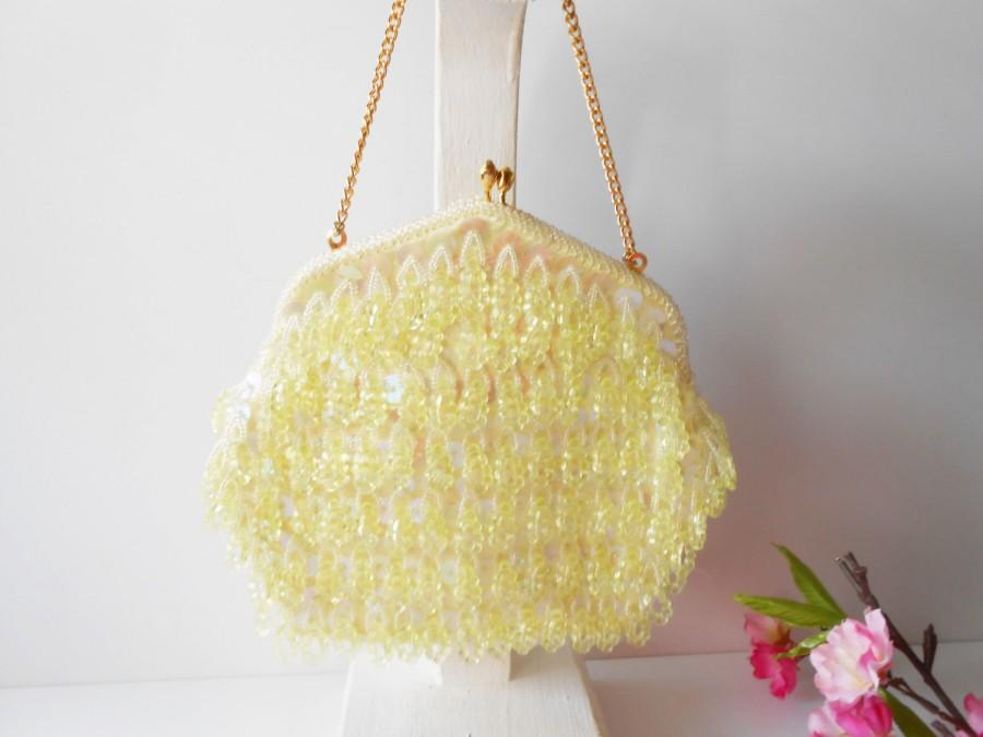 Hochzeit - Vintage Delill Yellow Evening Bag, Yellow Bead Bag, Chandelier Beads EB-0407