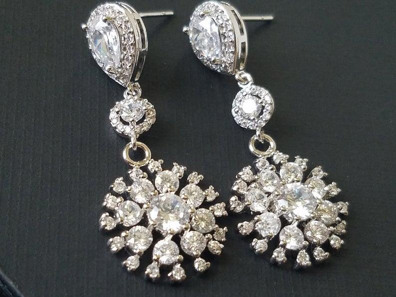 Свадьба - Cubic Zirconia Bridal Earrings, Crystal Chandelier Wedding Earrings, CZ Wedding Earrings, Crystal Dangle Silver Earrings, Bridal Jewelry