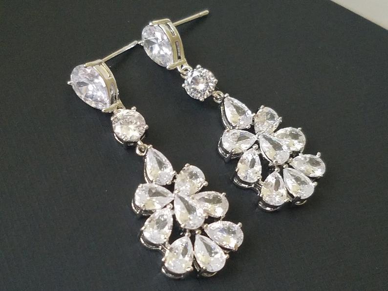 Mariage - Bridal Cubic Zirconia Earrings, Chandelier Crystal Wedding Earrings, Clear CZ Dangle Earrings, Sparkly Silver Earring, Statement Earrings