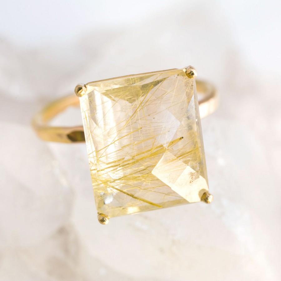 Свадьба - Rudilated Quartz Engagement Ring