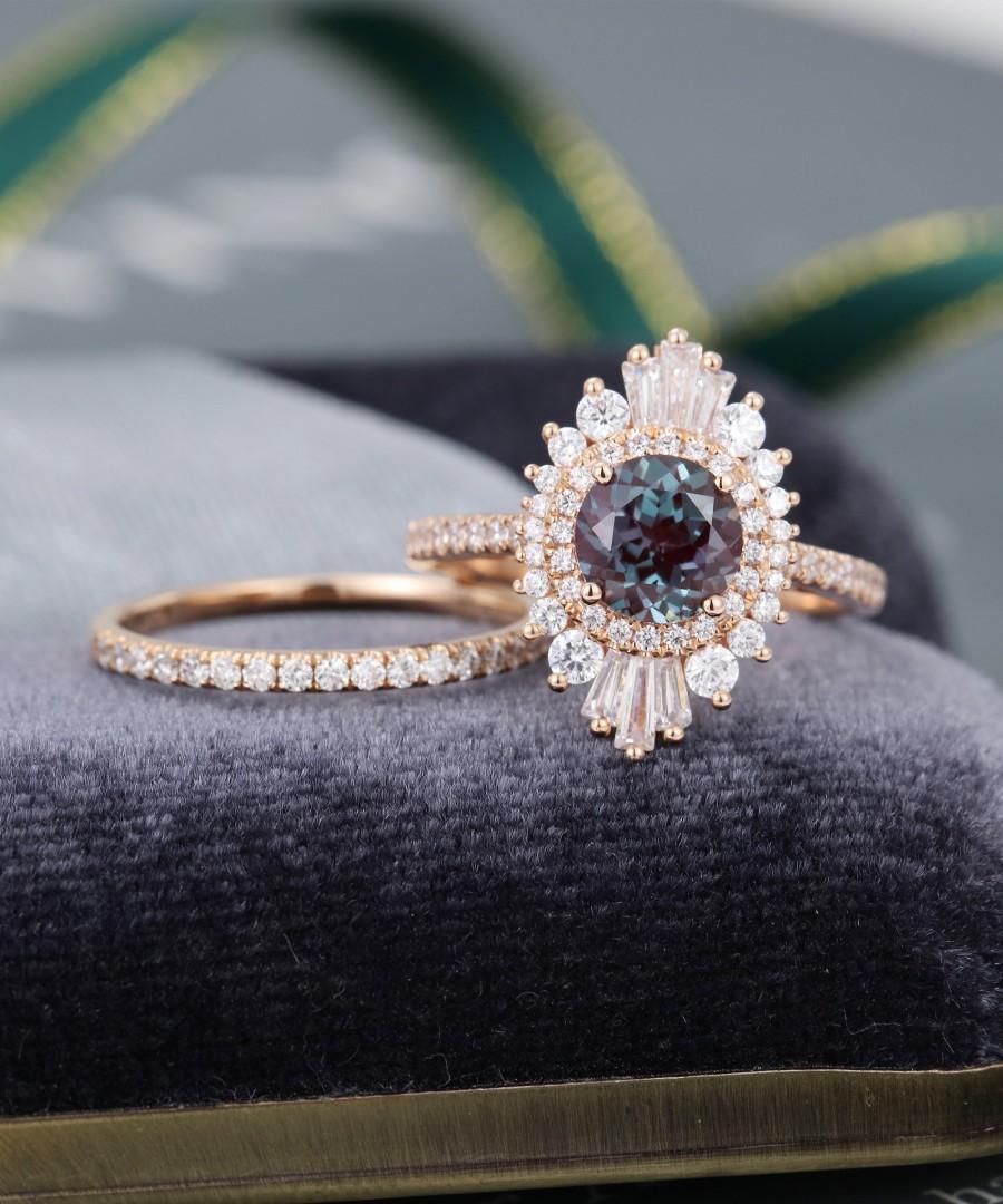 Свадьба - Unique engagement ring set vintage Alexandrite engagement ring rose gold art deco Bridal Halo baguette Diamond wedding for women Anniversary