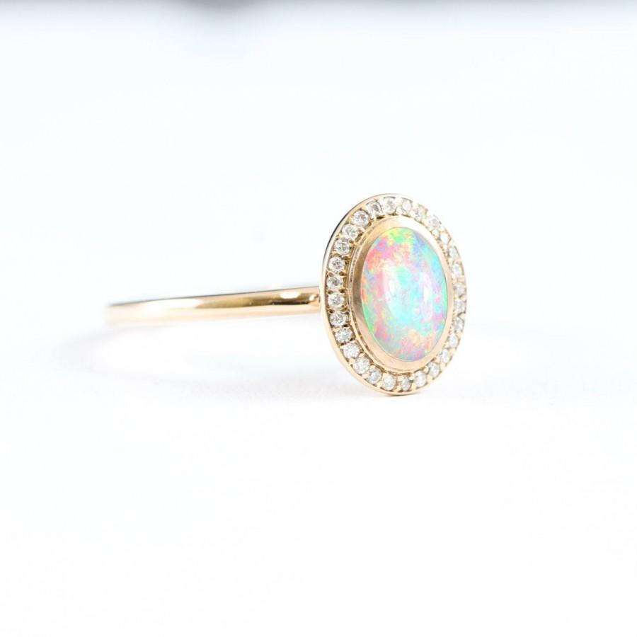 Свадьба - Opal and diamond halo engagement ring handmade in 14 carat rose/white/yellow gold