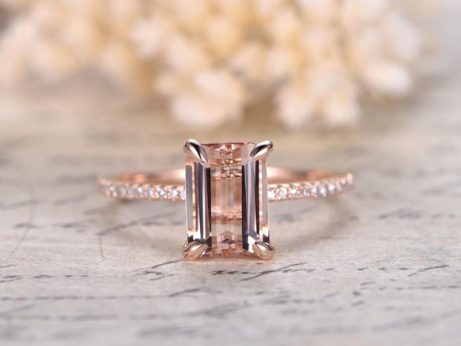 Hochzeit - Rose Gold Engagement Ring Morganite,Morganite Ring,Rose Gold Ring,Wedding Band,6*8mm Enerald Cut Engagement Ring,14K Solid Gold,Bridal Ring