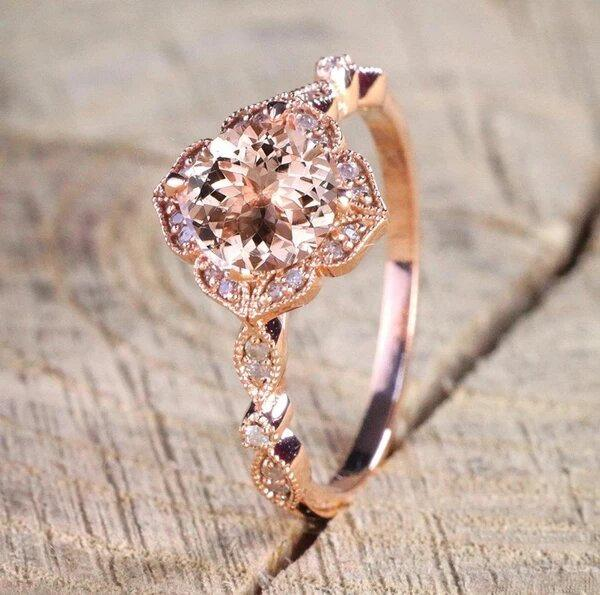 Свадьба - Authentic 1.50ct. Round Cut Morganite, Real Diamond Engagement Ring for Women 14k Rose Gold, Gift For Mother,Girlfriend,Promise Ring,Sister
