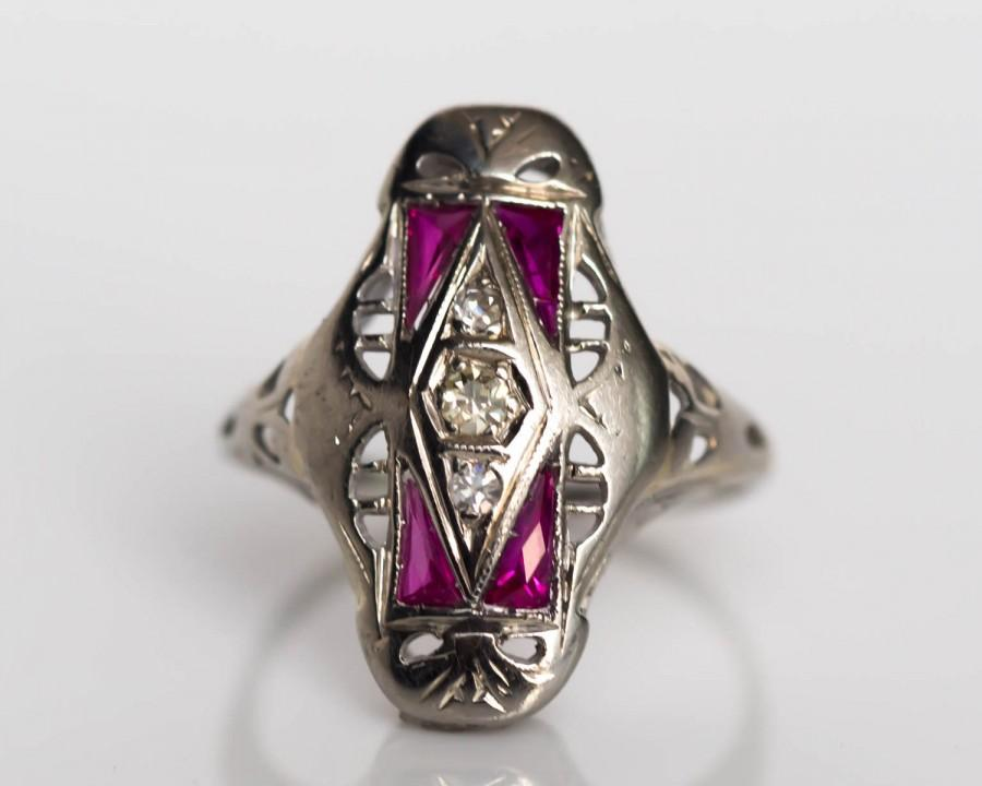 زفاف - Circa 1920s Art Deco 14K White Gold .04ct Diamond & .25cttw Synthetic Ruby Engagement Ring - VEG#720