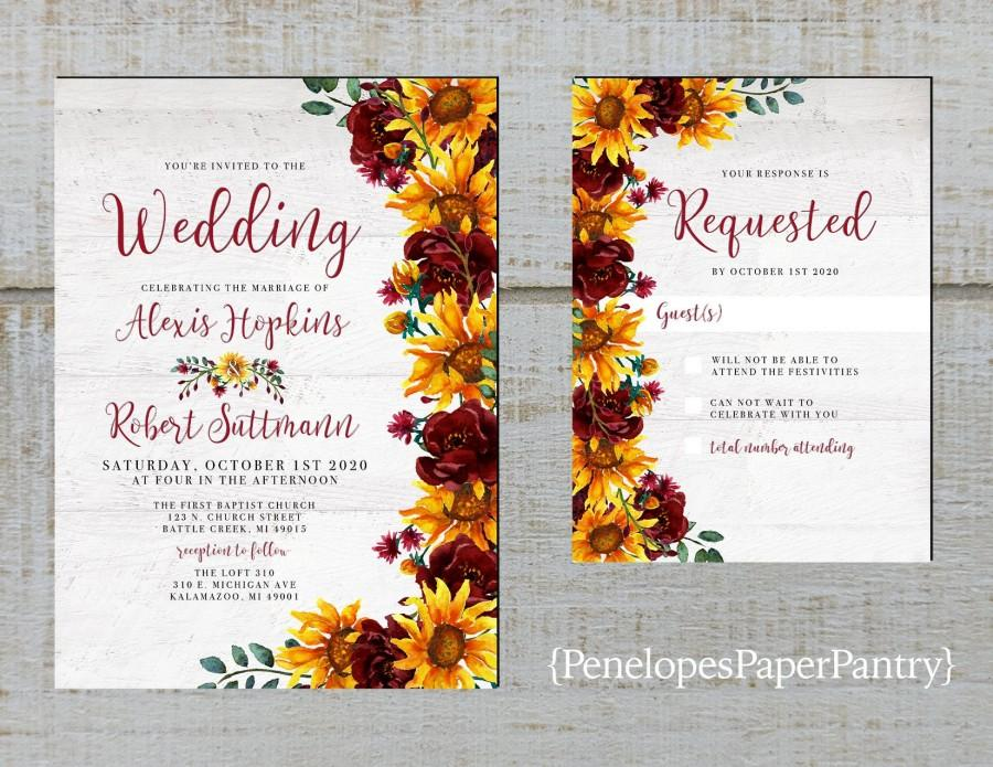 Wedding - Rustic Sunflower Wedding Invitation,Sunflowers,Burgundy Roses,Greenery,White Barn Wood,Shabby Chic,Printed Invitation,Wedding Set