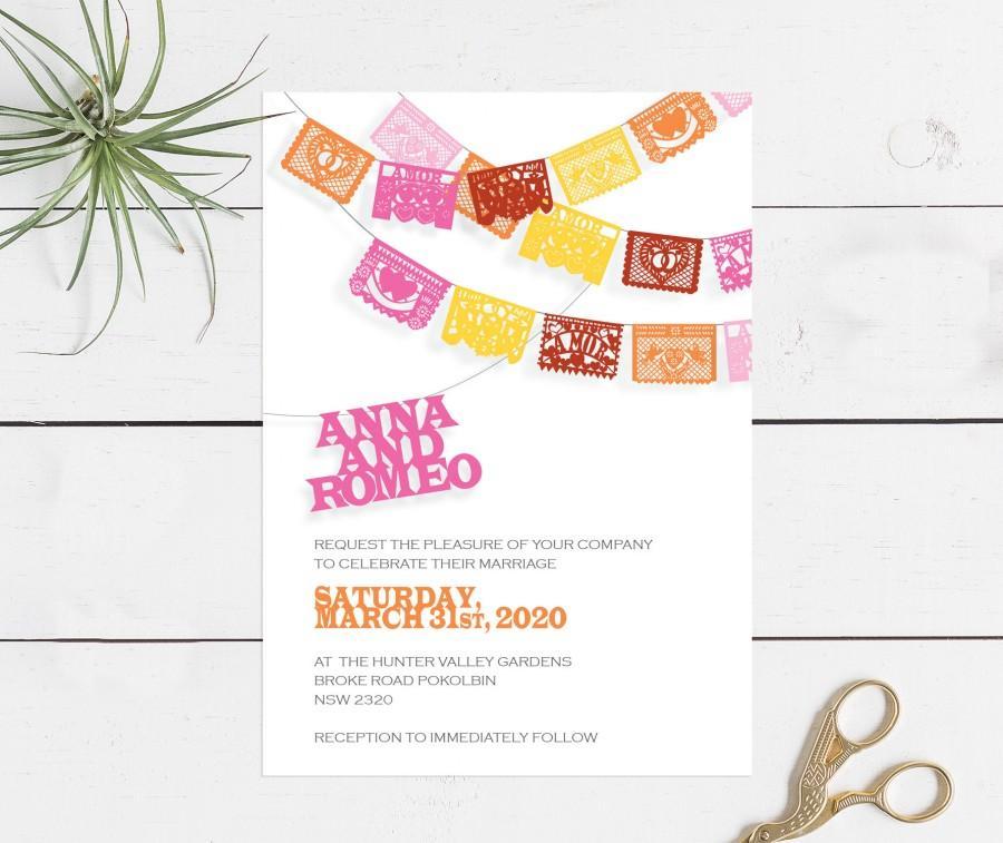 Свадьба - printable fiesta wedding invitation papel picado diy wedding invitations digital file mexican mexico destination