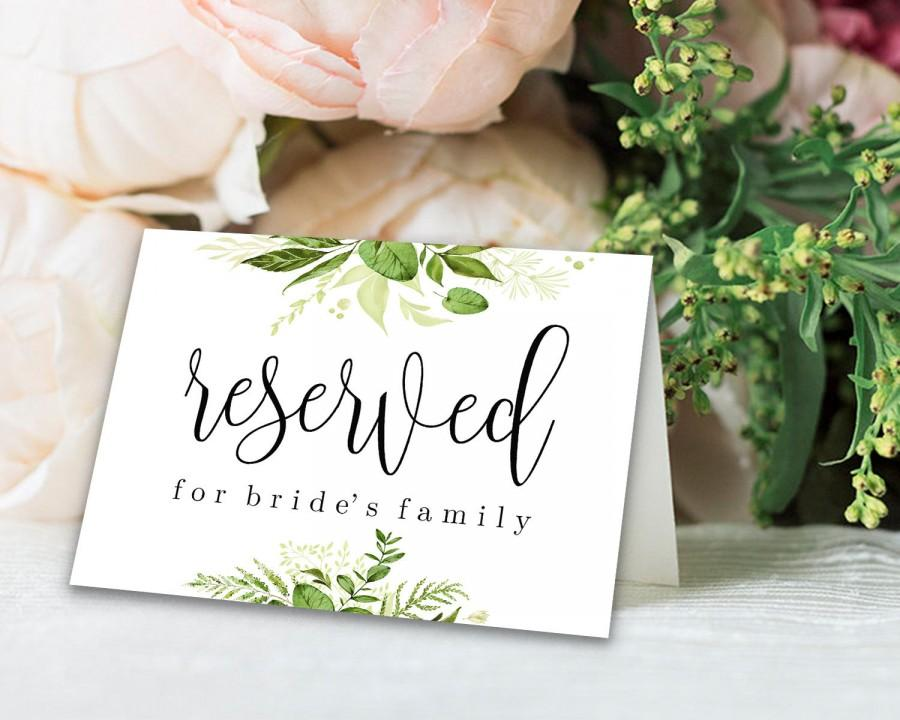 Wedding - Reserved Printable Reserved Wedding Sign Reserved Table Sign Wedding Printable Wedding Template Instant Download Editable PDF Greenery DIY