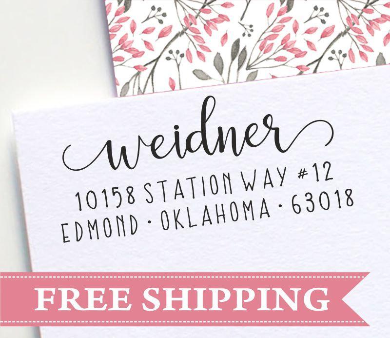 Hochzeit - Return Address Stamp, Self Inking Address Stamp, Swirly Address Stamp, Handwritten Address Stamp, Calligraphy Address Stamp (E45)