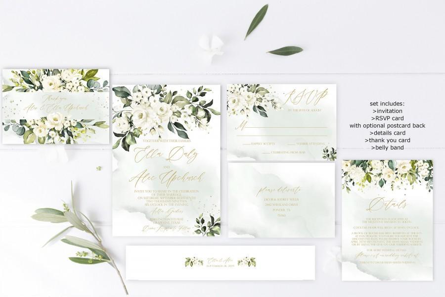 Wedding - Southern Wedding Invitation Template, Magnolia Wedding Invitation Printable, Rustic White Floral Watercolor Wedding Invitation, DIY Download