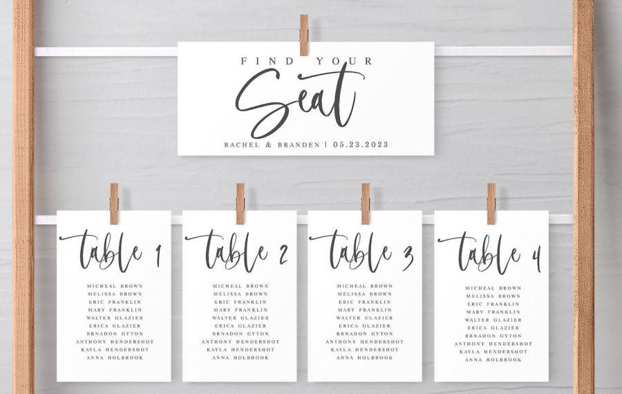 Mariage - Wedding Seating Chart Template, Wedding Table Numbers Chart Template, Editable Template, Modern Table Numbers Card, Edit Yourself, 450