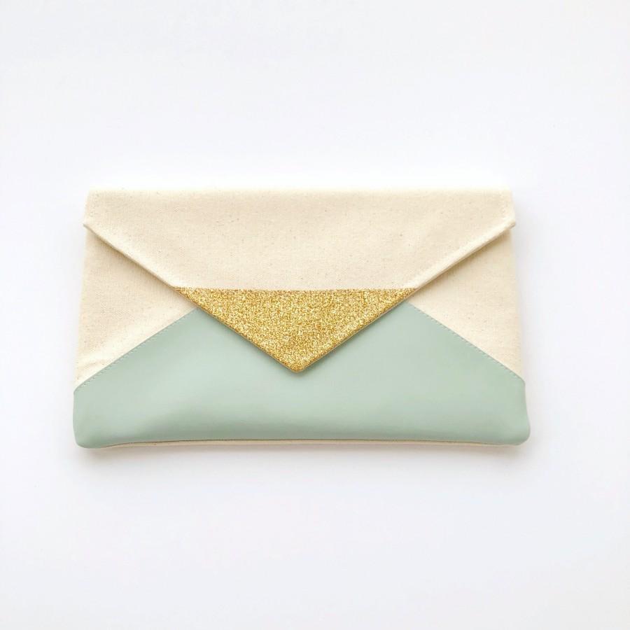 Wedding - Mint Glitter Envelope Clutch, Glitter bridesmaid clutch, bridesmaid gift, wedding clutch, wedding gift, seafoam bag, gift for her