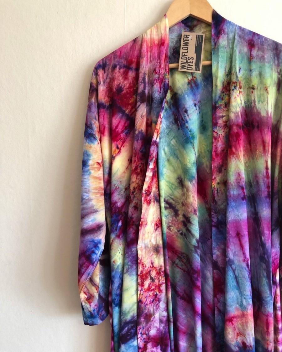 Mariage - Abalone Sunrise Kimono - Tie Dye Robe - Hand Dyed - Rayon - Cover Up