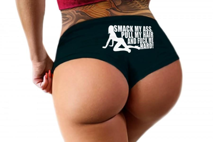 Свадьба - Smack My Ass Pull My Hair And Fuck Me Hard Panties Slutty Funny Booty Shorts Naughty Bachelorette Party Gift Womens Underwear