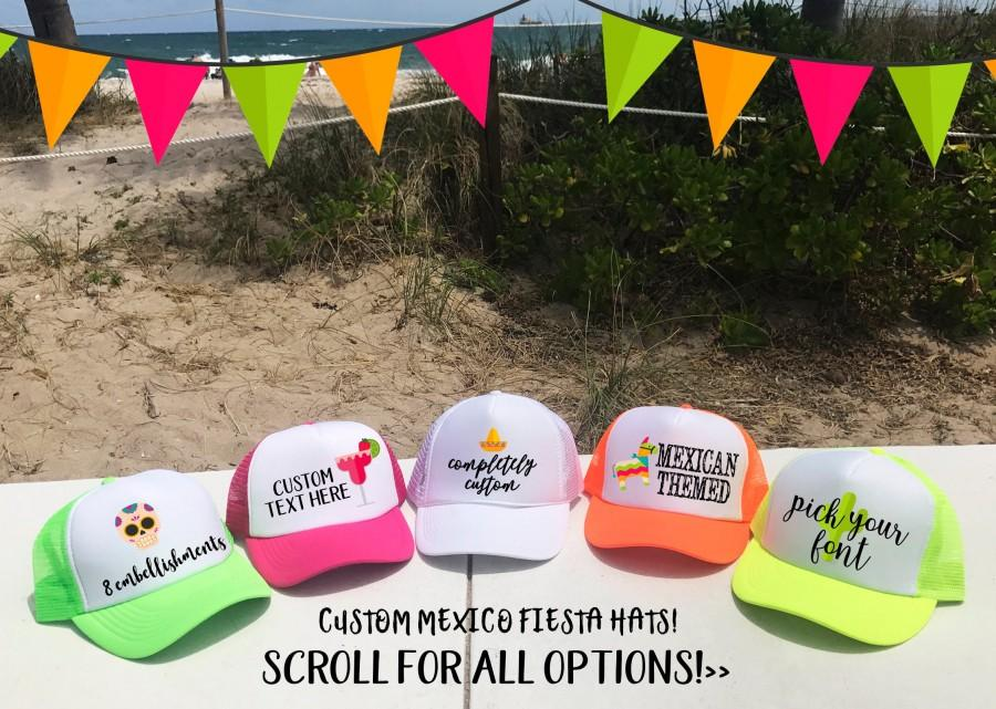 Mariage - MEXICO Trucker hats / Party in Mexico Cabo Cancun / Birthday Bachelorette Beach Girls Trip / TOTALLY CUSTOM / Pick Fonts and Embellishments