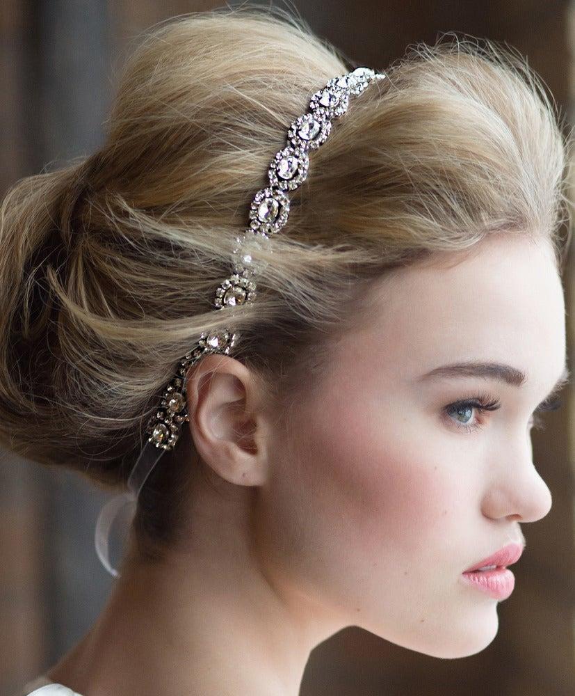 Wedding - No. 09  Silver Crystal Rhinestone Embellished Oval Bridal Headband