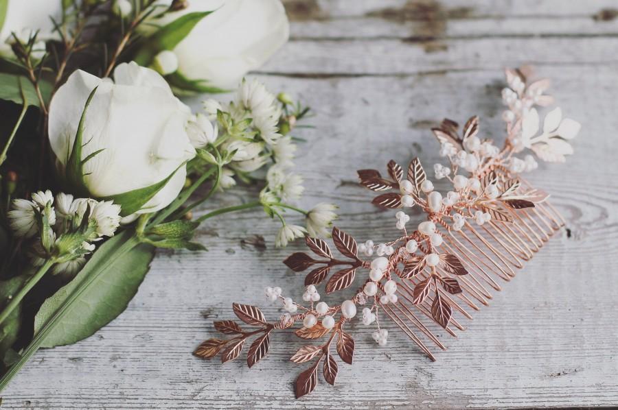 Wedding - Rose gold bridal hair comb, leaf hair vine, pearl hair comb, pearl hair vine, rose gold leaves, bridal pearl headpiece, wedding hair comb