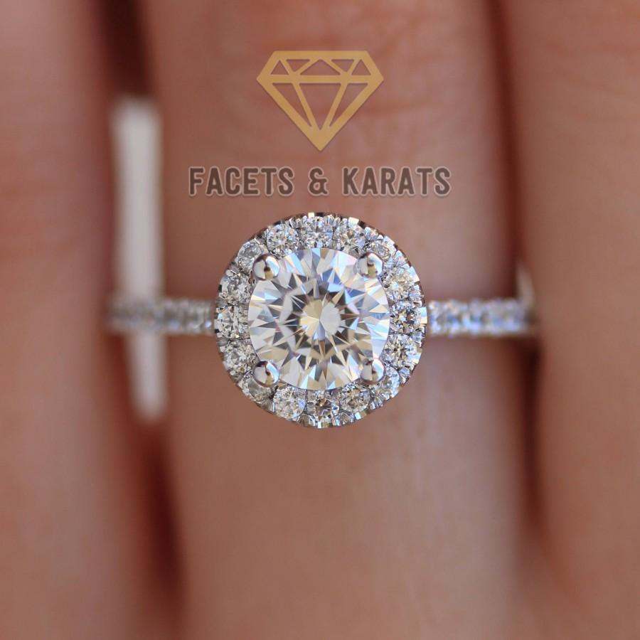 Свадьба - Engagement Ring Round Cut Halo 1.85 CT Handmade Pave Wedding Ring Custom Made Bridal Ring by Facets and Karats Man Made Diamond Simulant