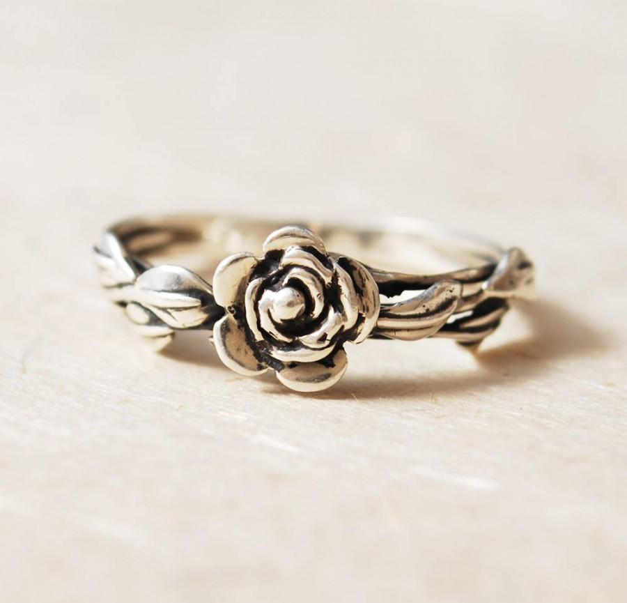 Свадьба - Promise Ring For Her, Flower Ring, Rose Ring, Leaf Ring, Unique Engagement Ring, Nature Inspired Ring, Rose Promise Ring, Unique Flower Ring