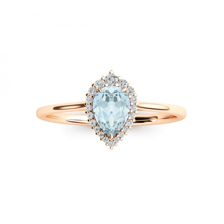 Свадьба - Pear Aquamarine Ring Natural Aquamarine Engagement Ring March Birthstone Ring Rose 14k Yellow Gold Aquamarine Ring Aquamarine Halo Ring Gold