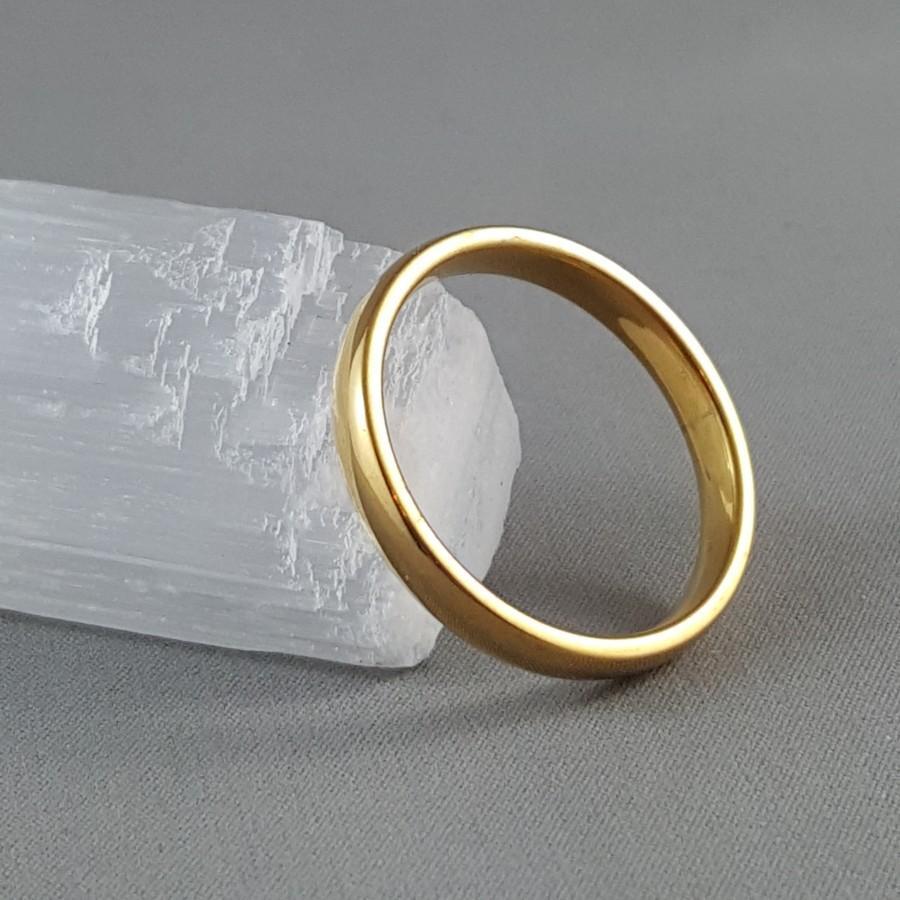 Mariage - 3mm Gold Ring Stainless Steel Ring Men's Gold Ring Women's Gold Ring Wedding Band Engagement Ring Friendship Ring Men's Ring Women's Ring