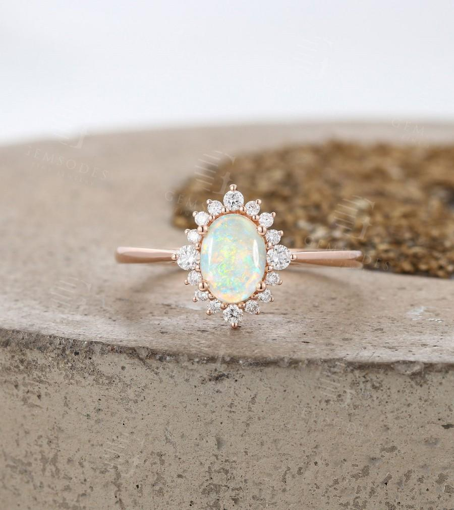 Hochzeit - Vintage Natural Opal Engagement Ring art deco Rose Gold ring , Antique Oval cut Bridal ring, Diamond Prong set Ring, Anniversary ring