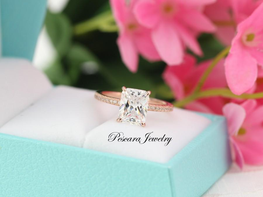 Hochzeit - 3.1ctw Rose Gold Engagement Ring, Radiant Cut Engagement Ring, Solitaire Ring, Wedding Ring, Promise Ring, Sterling Sivler