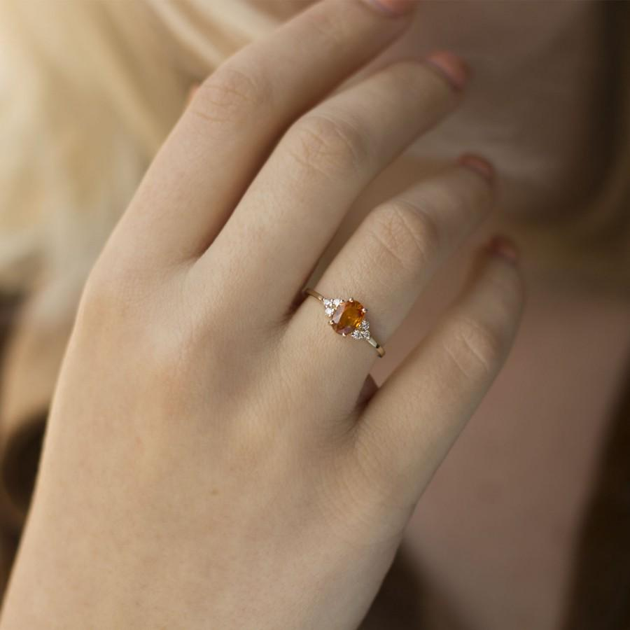Mariage - Orange sapphire Solitaire and Diamonds ring , Yellow Sapphire ring, Rose gold jewelry, Yellow gemstone and Diamonds ring, 14K Gold, 18K Gold