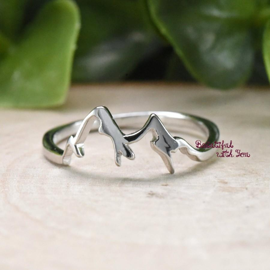 Hochzeit - Trendy Fashion Ring Mountain, Mountain Ring, Sterling Silver Womens Mountain Ring, Dainty Minimalism Nature Mountain Range Ring Silver
