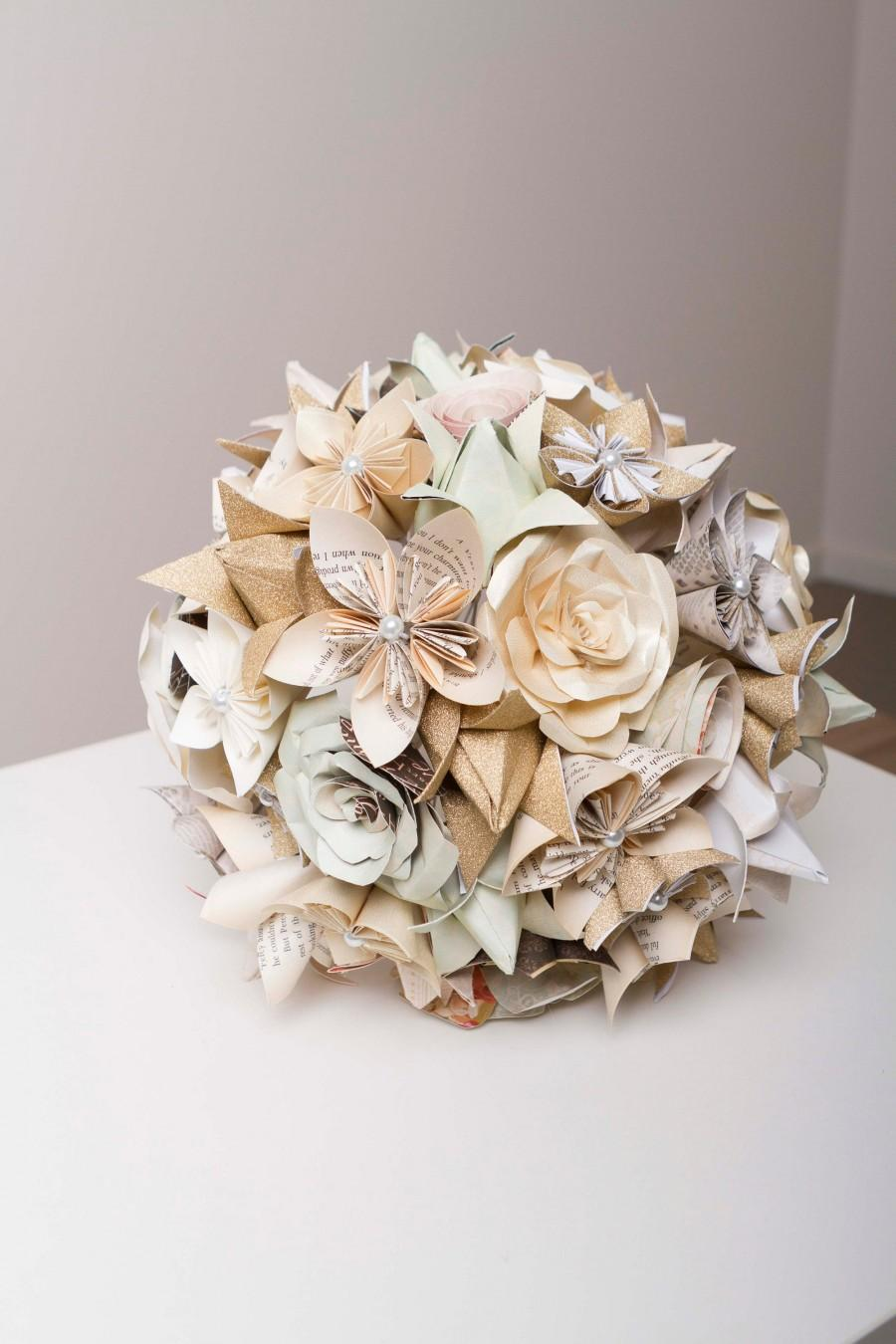 Свадьба - Paper flower bridal set, Paper flower bouquet, Origami bouquet, Harry Potter, neutral coloured bouquet, mixed origami flowers,