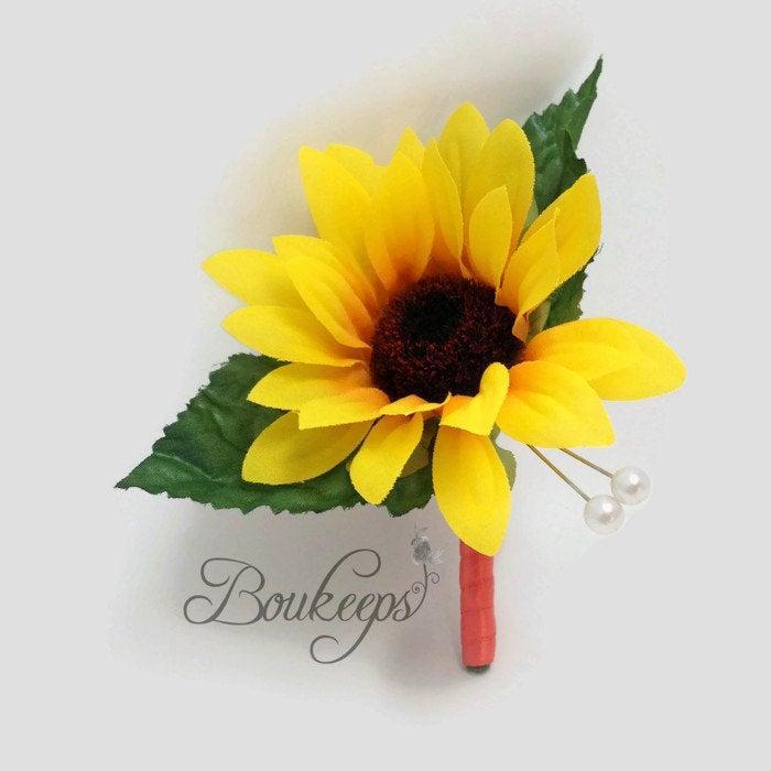 Mariage - CHOOSE RIBBON COLOR - Sunflower Boutonniere, Sunflower Wedding, Yellow Boutonniere, Silk Sunflower, Autumn Wedding, Groom, Groomsmen