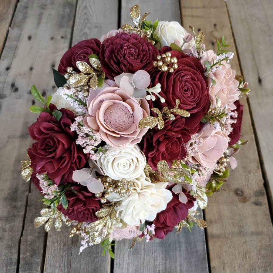 Hochzeit - Burgundy, Blush, and Cream Wood Flower Bouquet with Gold Accents and Boxwood, bridal bouquet, bridesmaid bouquet, flower girl