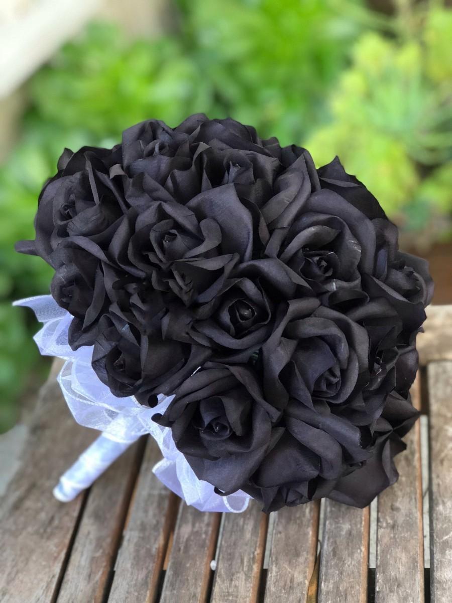 زفاف - Black Rose Silk Wedding Flower Bouquet - 3 dozen silk bridal bouquet - Black Beauty Rose(36 black rose)