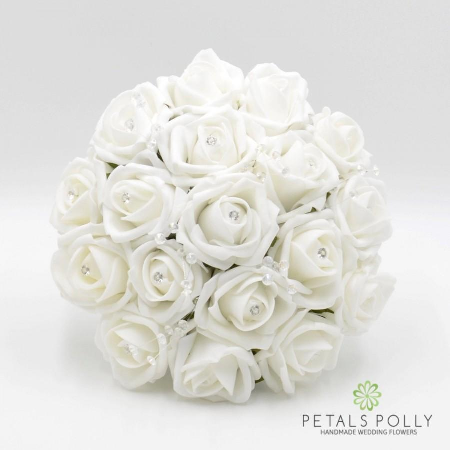 Hochzeit - Artificial Wedding Flowers, White Bridesmaids Bouquet Posy with Diamante Rose Centres