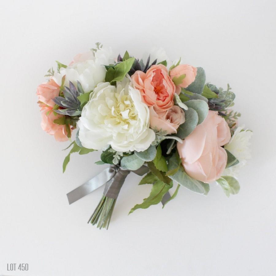 زفاف - Silk Bride Bouquet, Artificial Wedding Flowers, Pink, Peach, White, Faux Roses, Silk Peonies, Succulents, Romantic Bohemian, Boho Bride