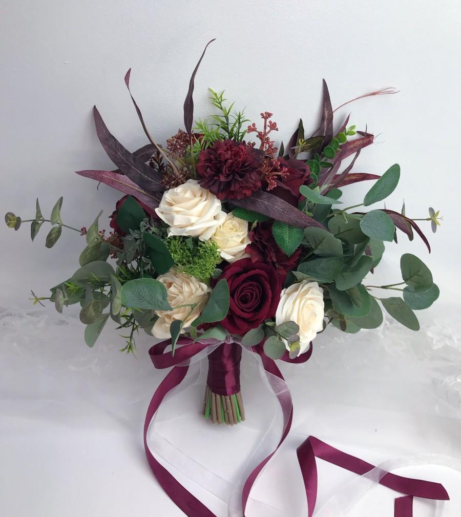 Hochzeit - Wedding bouquet,burgundy and ivory bouquet, boho bouquet,bridal bridesmaids bouquet,rose and eucalyptus