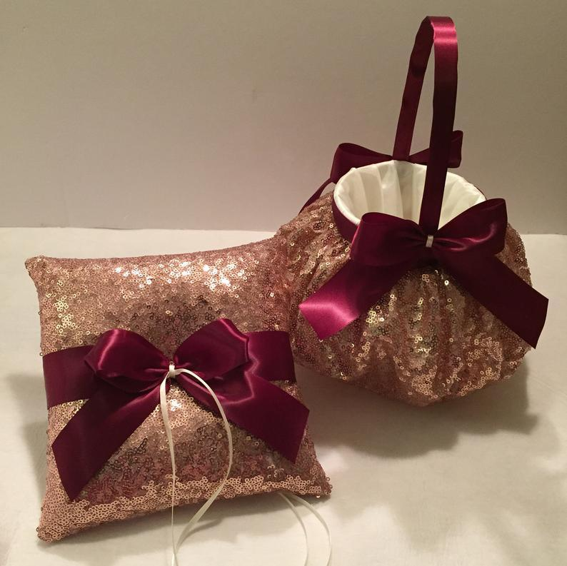 Mariage - Rose gold flower girl basket, burgundy flower girl basket, rose gold ring bearer pillow, ivory flower girl basket, sequin flower girl basket