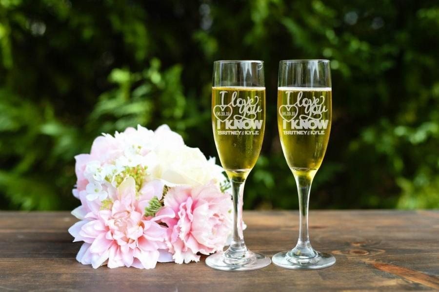 زفاف - Star Wars Inspired Toasting Flutes - I Love You I Know Toasting Flutes - Champagne Flutes - Set of Two