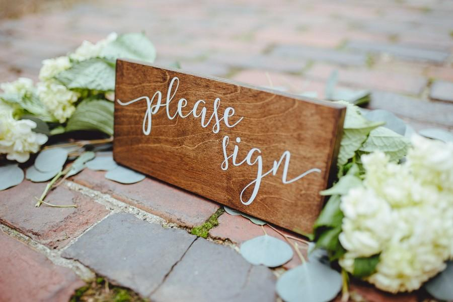 Hochzeit - Please Sign Rustic Wedding Sign, Wedding Please Sign Rustic Wood Sign, Wedding Guestbook Table Wood Sign, Wedding Guest Book Please Sign