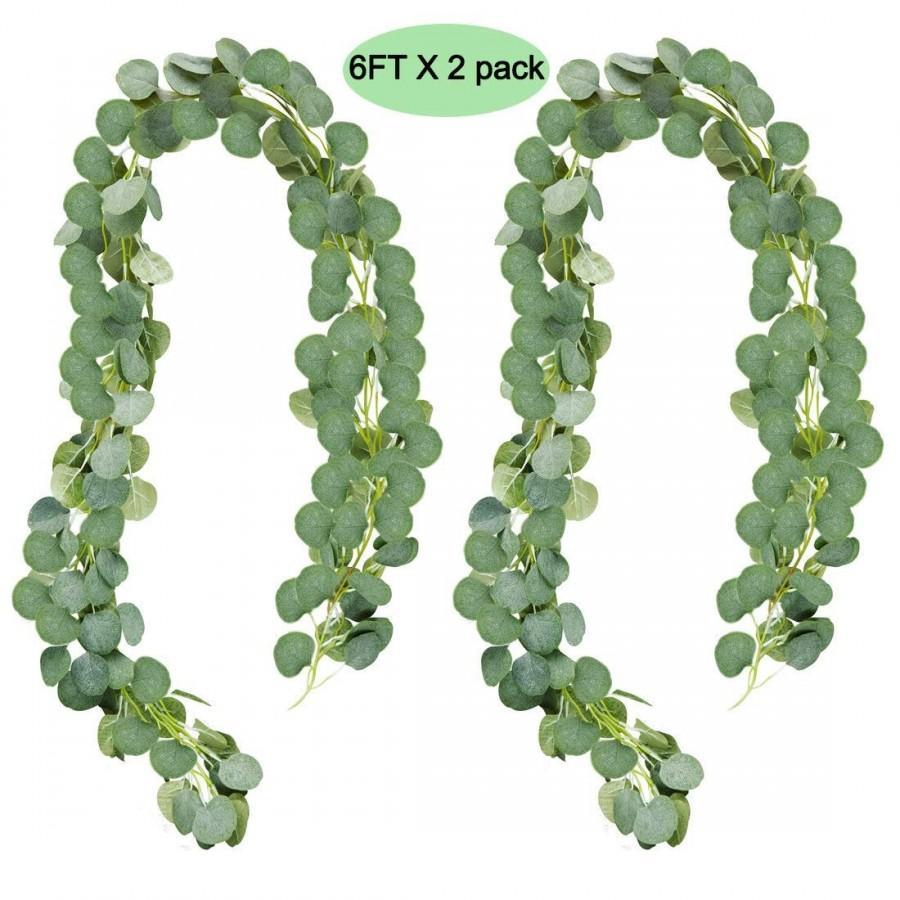 Hochzeit - 6FT Eucalyptus Garland, Artificial Greenery Wedding Garland