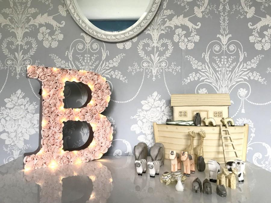 "Свадьба - Giant Blush wedding letters, 12"" rose initials, Very large light up letters"