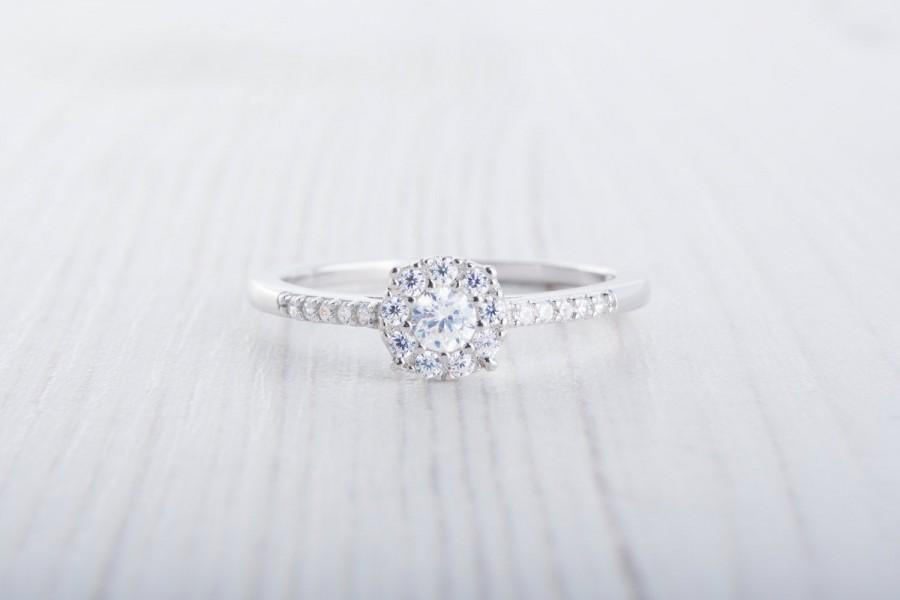 Свадьба - On Sale! Man Made Diamond Simulant halo Engagement Ring - Available in Sterling Silver or White Gold - Handmade