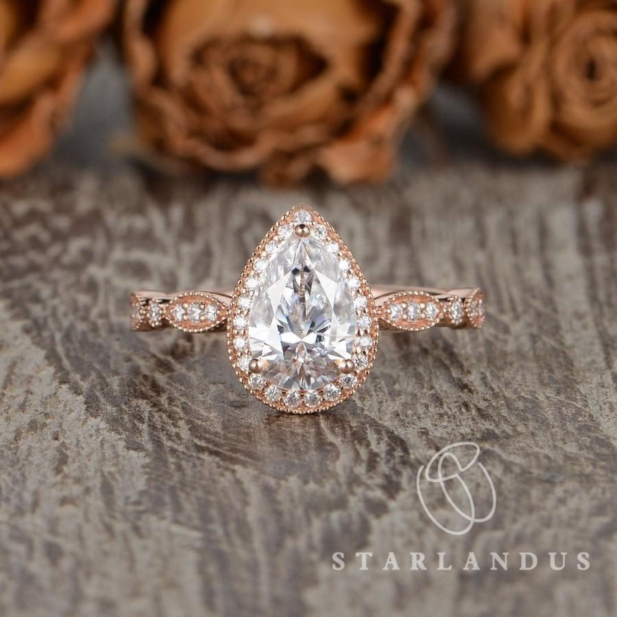زفاف - On Sale 6x9mm Pear Shaped Moissanite Engagement Ring Art Deco Moissanite Ring Rose Gold Cluster Ring Solitaire Antique