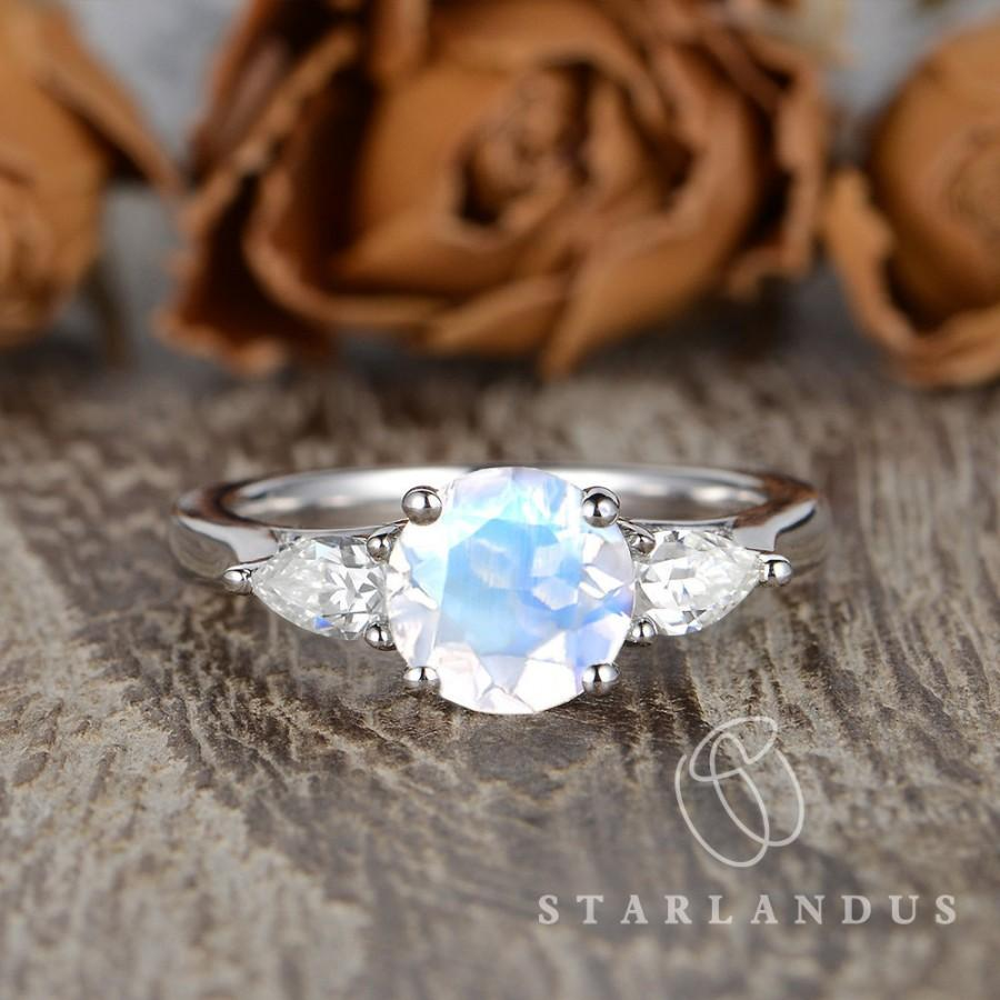 Свадьба - Moonstone Engagement Ring Pear Shaped Moissanite Ring White Gold Engagement Ring Three Stones Ring Pear Shaped Engagement Moonstone Jewelry