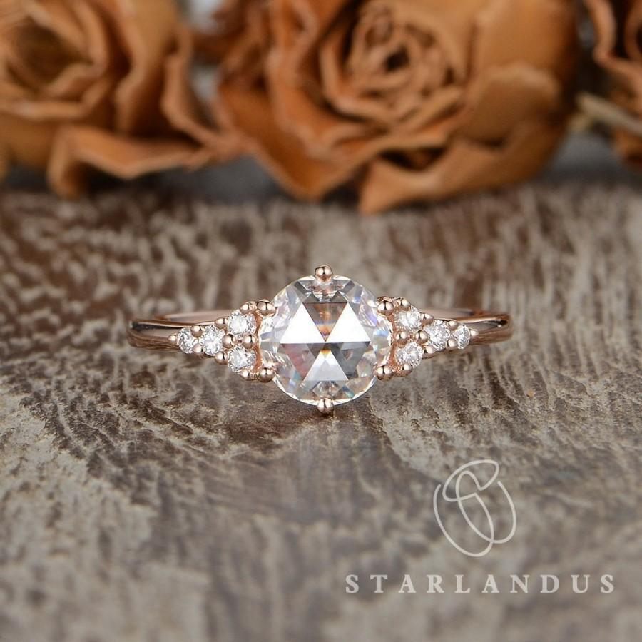 Свадьба - Ready to Ship Unique Cluster Engagement Ring Rose Cut Moissanite Engagement Ring Antique 6 Six Prongs Wedding Ring Solitaire Ring Vintage